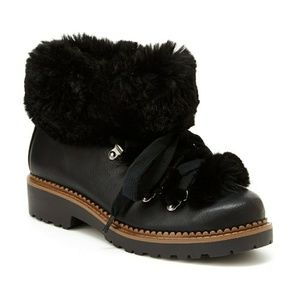 🆕 UNIONBAY Faux Fur Black Ankle Boots Booties 7.5